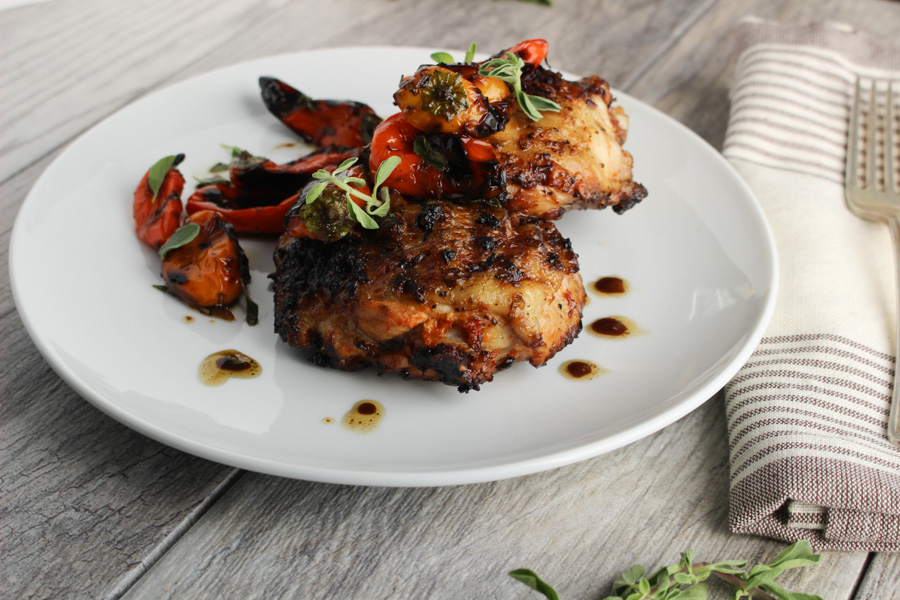 Korean Spiced Chicken Thighs with Mini Sweet Peppers