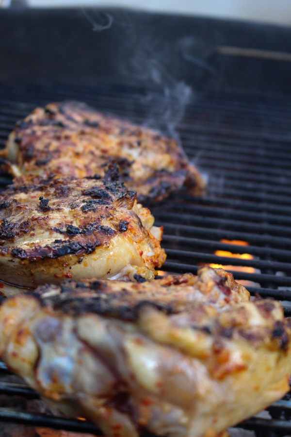 Korean Spiced Chicken Thighs on the Grill
