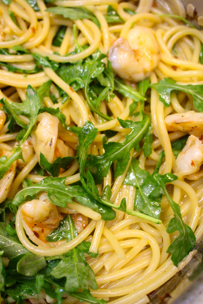 Bucatini with Shrimp, Arugula, Chilies, and Breadcrumbs