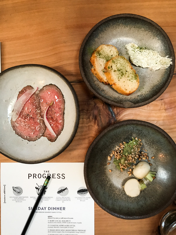 Starters: Smoked Beef, Beer Bread with Housemade Butter, Local Radish) at The Progress