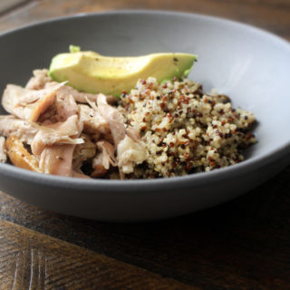 Red and White Quinoa, Warm Chicken Salad, Avocado