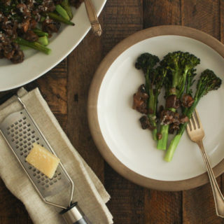 Thanksgiving Day Roasted Broccolini with Mushrooms